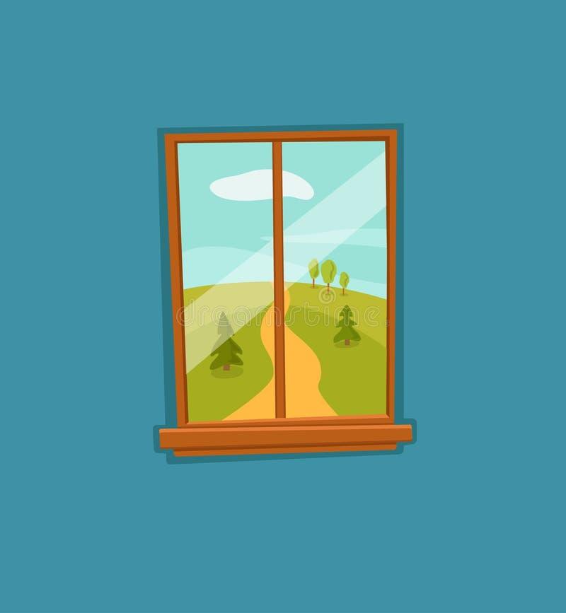 Illustrazione variopinta di vettore del fumetto della finestra con il paesaggio del sole di estate della valle illustrazione vettoriale