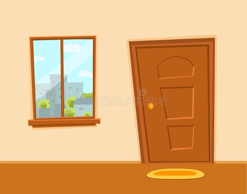 Illustrazione variopinta di vettore del fumetto della porta e della finestra con il paesaggio urbano delle costruzioni di archite illustrazione vettoriale