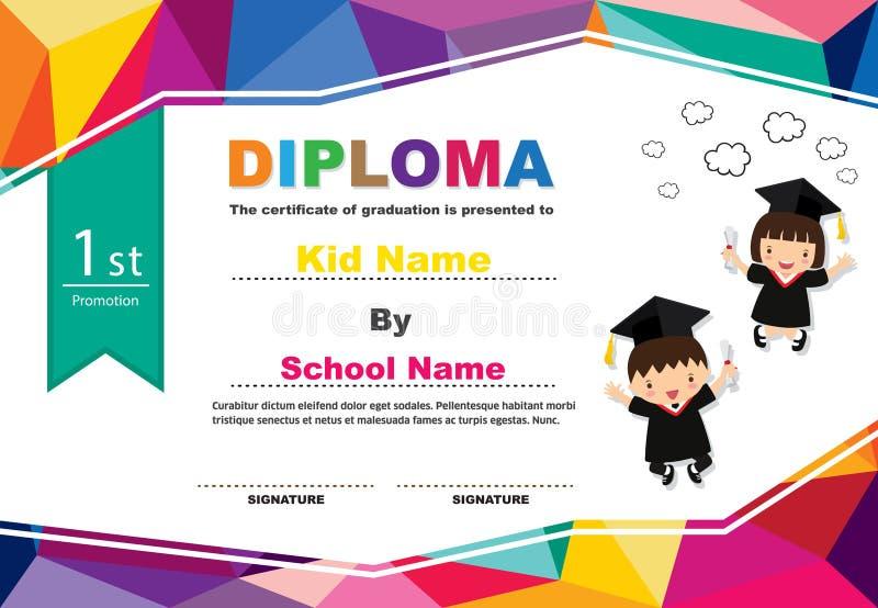 Illustrazione variopinta di vettore del modello di progettazione del fondo del certificato del diploma dei bambini della scuola m illustrazione vettoriale