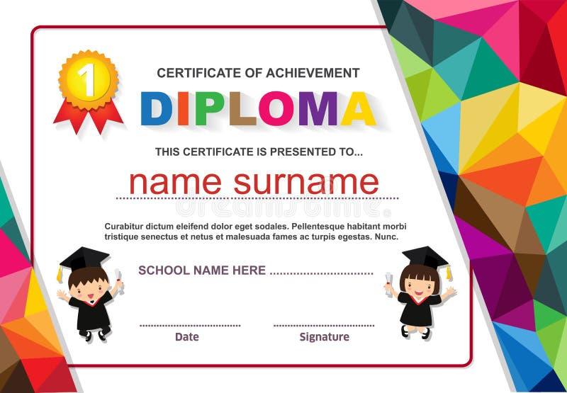 Illustrazione variopinta di vettore del modello di progettazione del fondo del certificato del diploma dei bambini della scuola m illustrazione di stock