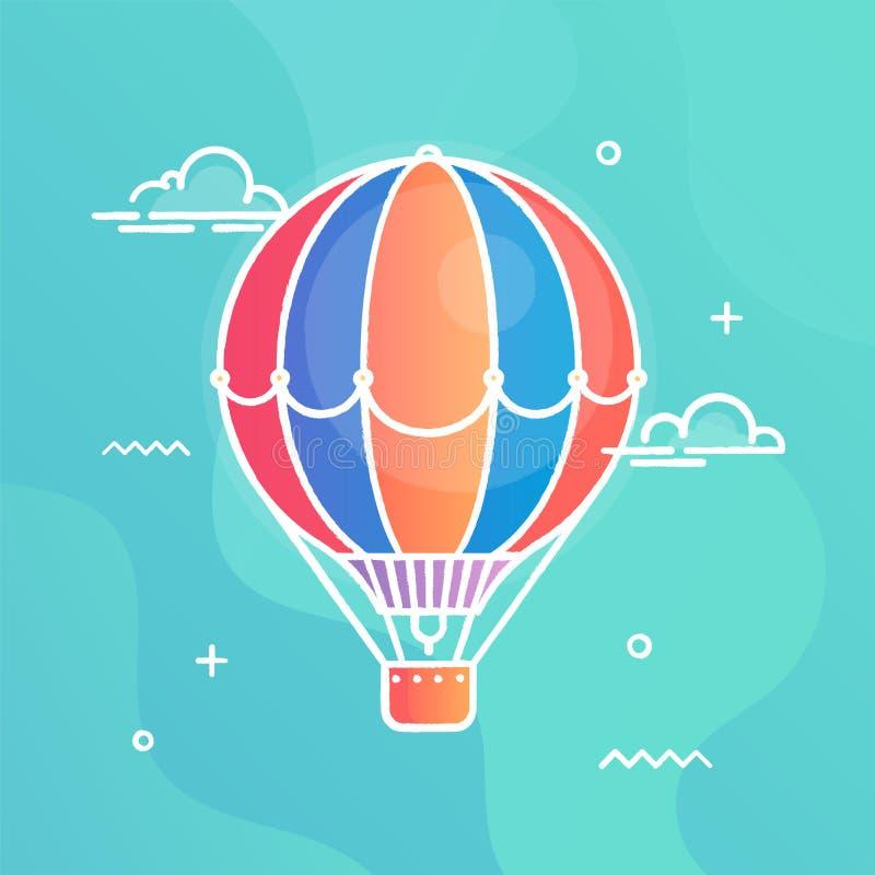 Illustrazione variopinta di vettore dell'aerostato nella progettazione piana su fondo blu con gli elementi astratti Volo di conce illustrazione di stock