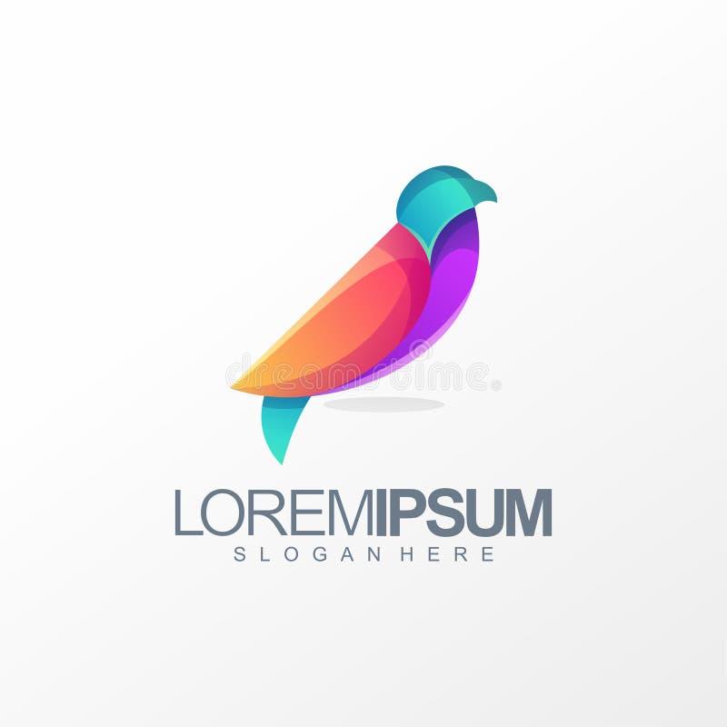 Illustrazione variopinta di vettore di progettazione di logo dell'uccello illustrazione di stock