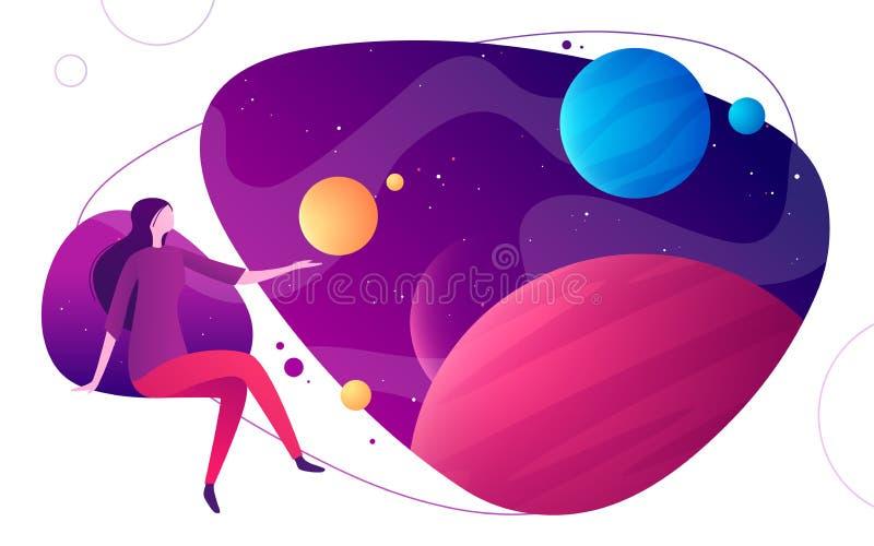Illustrazione variopinta di vettore sull'argomento di realtà virtuale ed aumentato dello spazio, di immaginazione, di esplorazio royalty illustrazione gratis