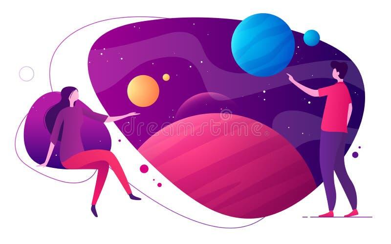 Illustrazione variopinta di vettore sull'argomento di realtà virtuale ed aumentato dello spazio, di immaginazione, di esplorazio illustrazione di stock