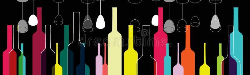 Illustrazione variopinta elegante di vetro e delle bottiglie illustrazione vettoriale