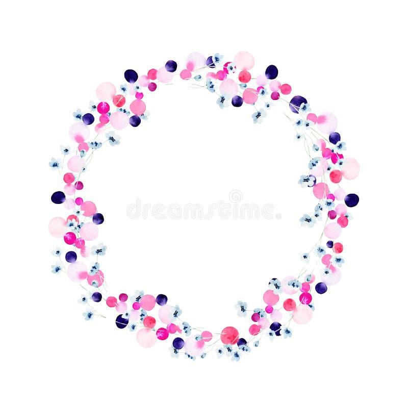 Illustrazione variopinta luminosa disegnata a mano della corona del fiore dell'acquerello illustrazione vettoriale