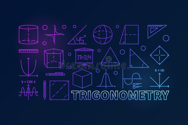 Illustrazione variopinta o insegna di vettore di trigonometria illustrazione di stock