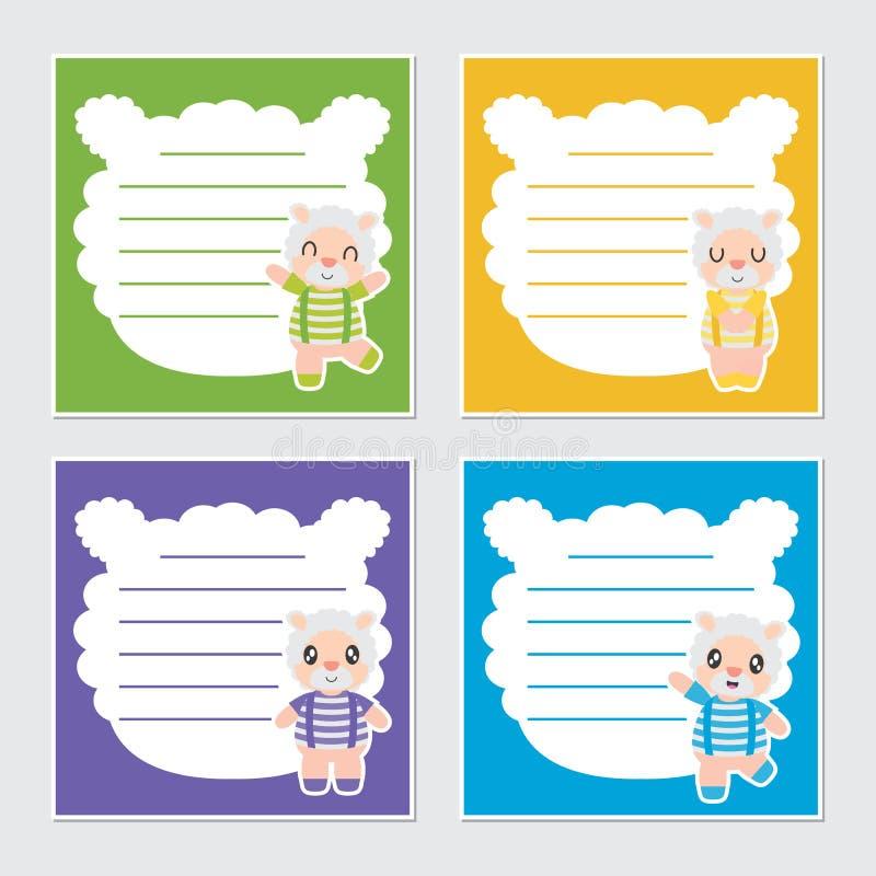 Illustrazione variopinta sveglia del fumetto della struttura dei ragazzi delle pecore per progettazione della carta dell'appunto  illustrazione di stock