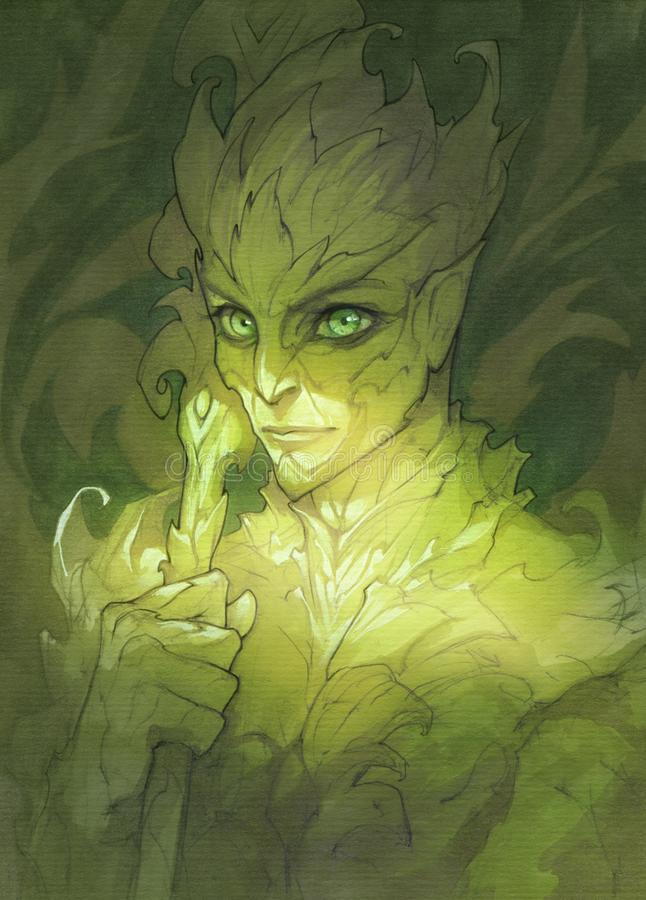 Illustrazione verde del ritratto di fantasia di un carattere di driadi royalty illustrazione gratis