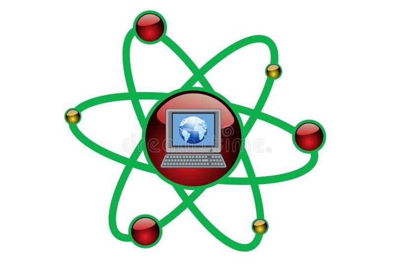 Illustrazione verde di tecnologia del calcolatore illustrazione di stock