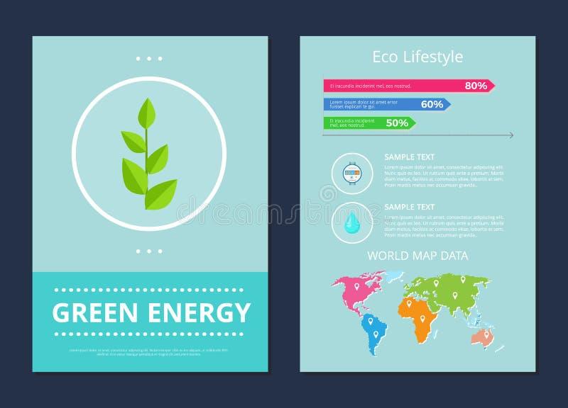 Illustrazione verde di vettore di stile di vita di Eco e di energia illustrazione vettoriale