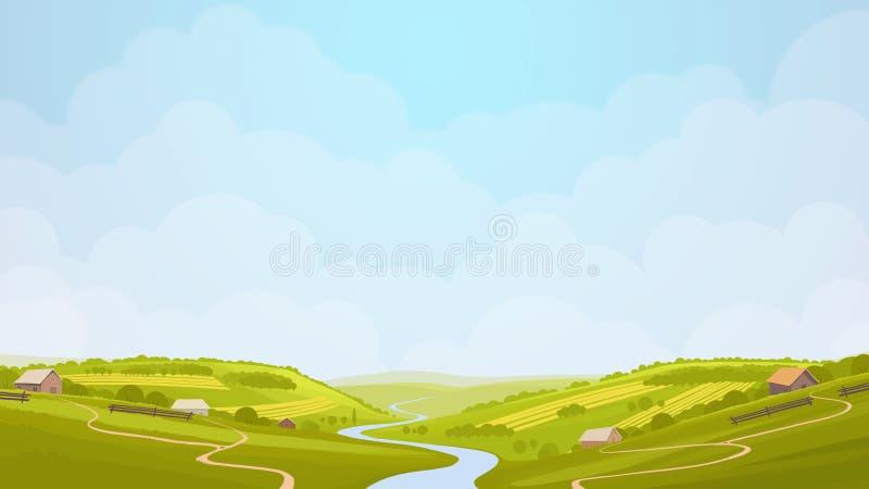 Illustrazione verde di vista della campagna royalty illustrazione gratis