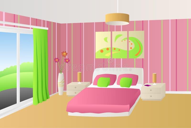 Illustrazione verde rosa beige della finestra delle lampade dei cuscini di letto della camera da letto interna moderna royalty illustrazione gratis