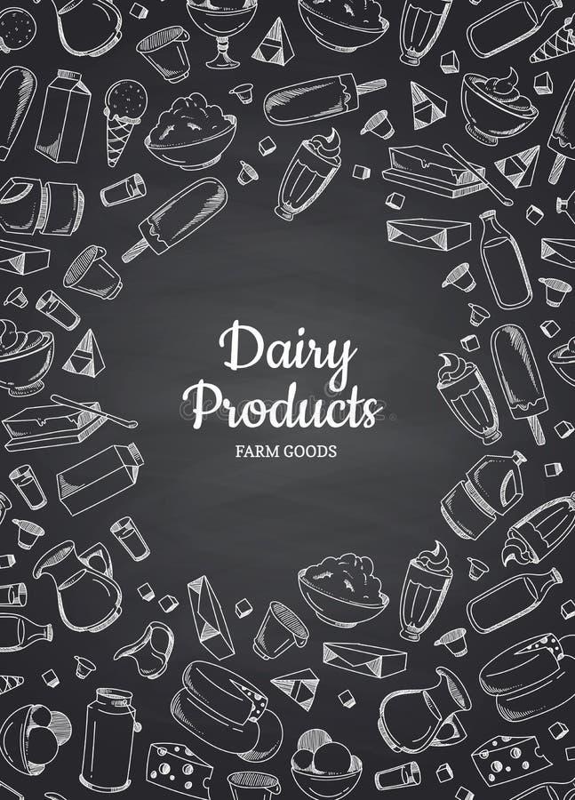 Illustrazione verticale di vettore dei prodotti lattier-caseario illustrazione vettoriale