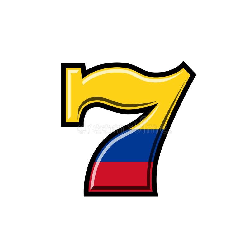 Illustrazione vettoriale del flag colombiano della macchina dello slot illustrazione di stock
