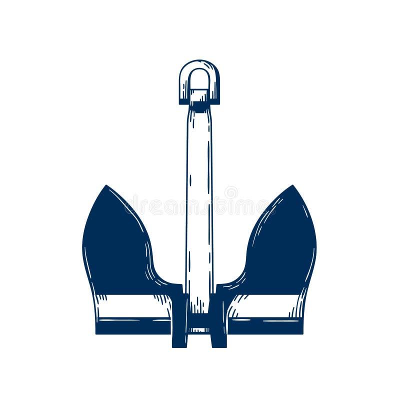 Illustrazione vettoriale dell'ancoraggio di mare ingrassato Dispositivo di ormeggio della nave navale, attributo della nave nauti royalty illustrazione gratis