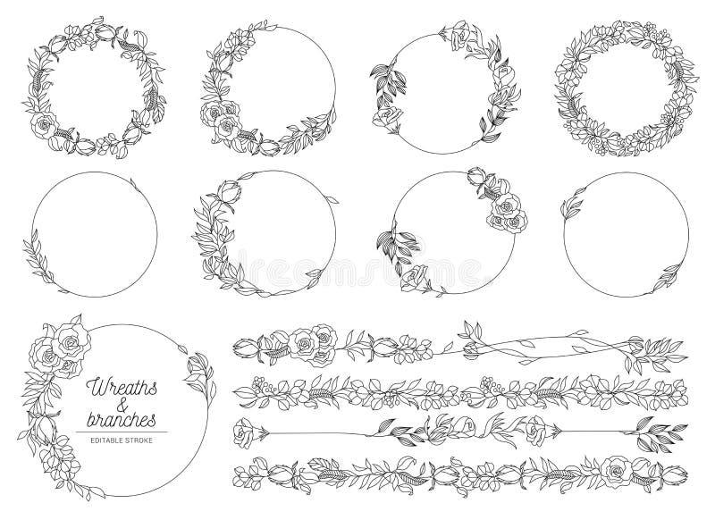 Illustrazione vettoriale delle corone disegnate a mano illustrazione vettoriale