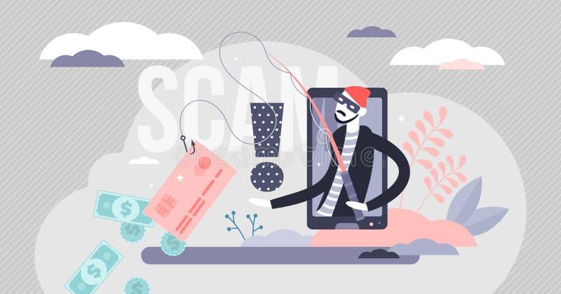 Illustrazione vettoriale dello scanner Segnalazione di frode da parte di hacker per il concetto di piccole persone piatte illustrazione di stock