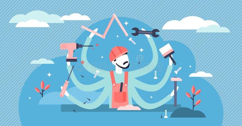 Illustrazione vettoriale di Handyman Concetto per le persone che esercitano un'attività professionale a condizioni piatte e minus royalty illustrazione gratis