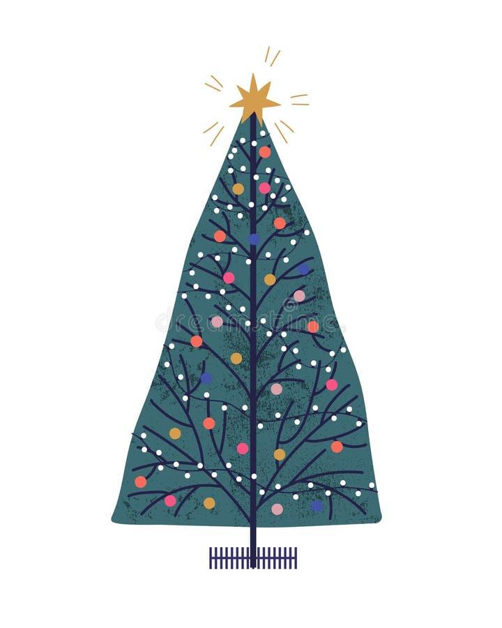 Illustrazione vettoriale disegnata sulla mano dell'albero di Natale Attributo vacanze di nuovo anno con giocattoli e ghirlande Mo royalty illustrazione gratis
