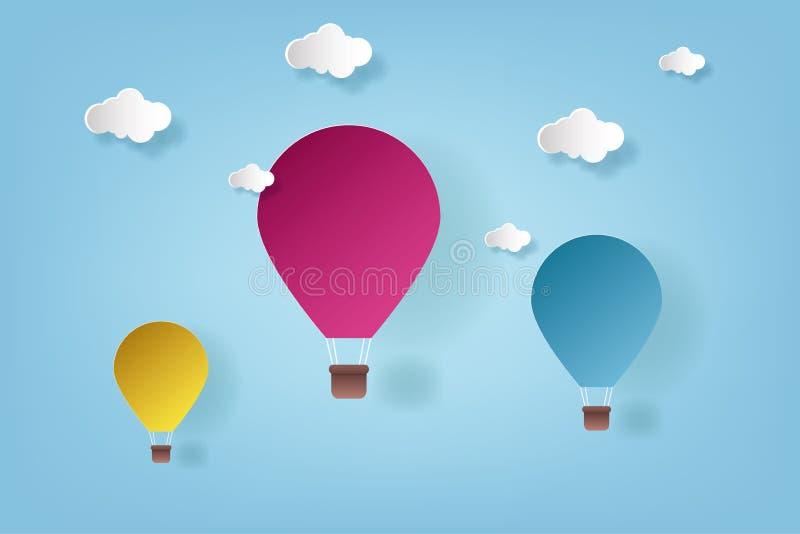 Illustrazione vettoriale Origami Colore palloncino ad aria calda e cloud arte e artigianato illustrazione vettoriale