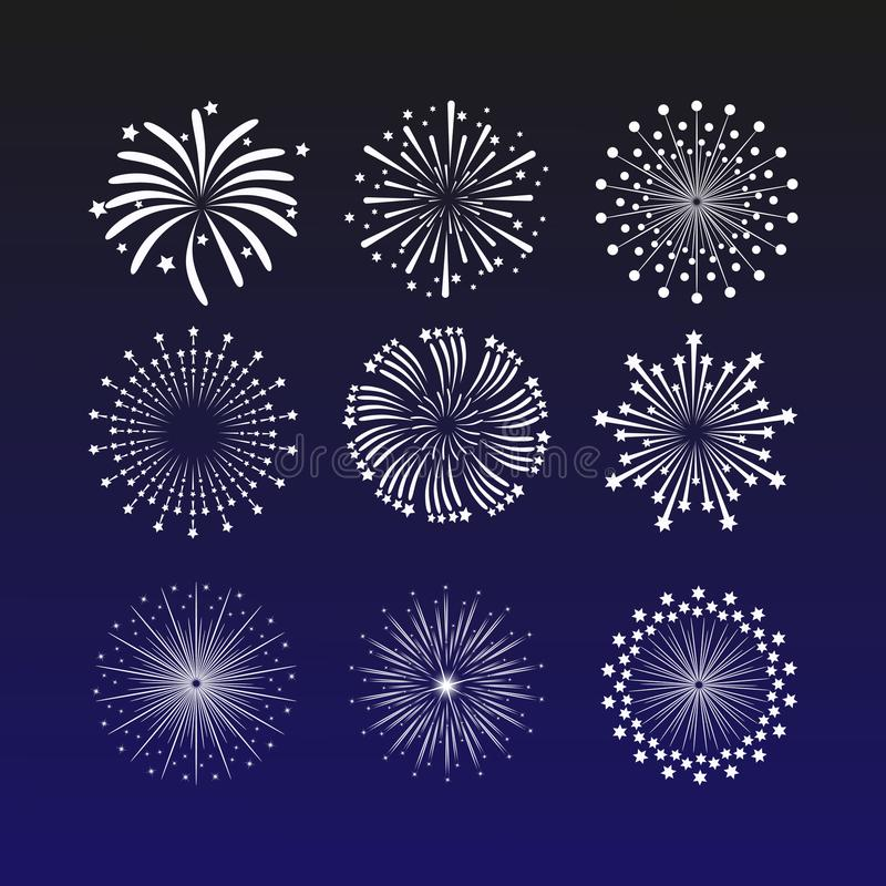 Illustrazione vibrante di vettore con i fuochi d'artificio su un fondo blu scuro Bello saluto della decorazione per le celebrazio illustrazione vettoriale