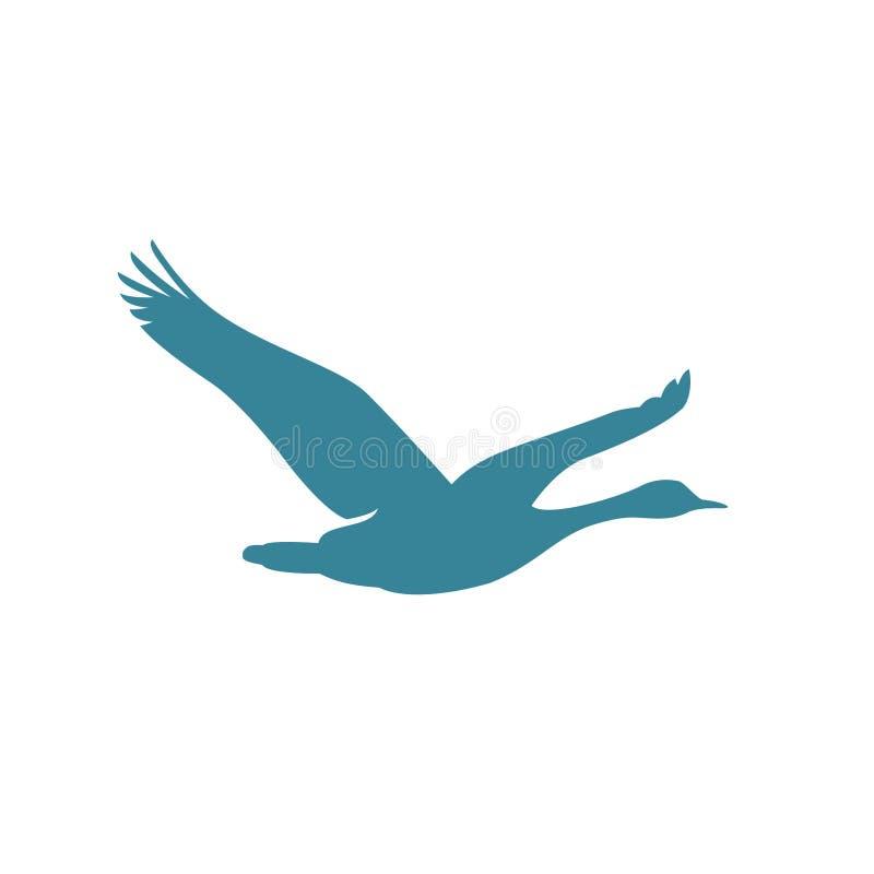 Illustrazione volante di vettore dell'oca, ispirazione di progettazione di logo dell'uccello illustrazione di stock