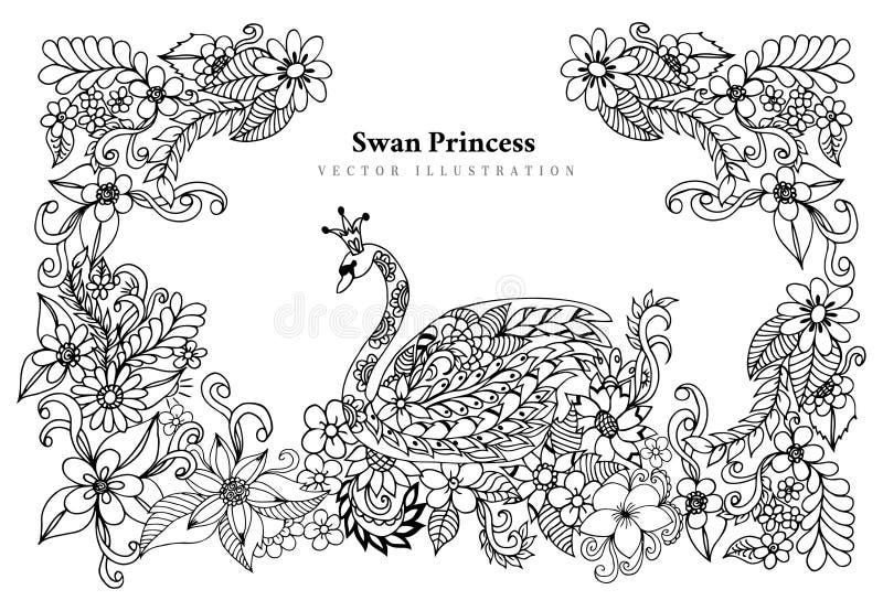 Illustrazione Zen Tangle Swan Princess di vettore in fiori Dudling Anti sforzo del libro da colorare per gli adulti Bianco nero illustrazione vettoriale