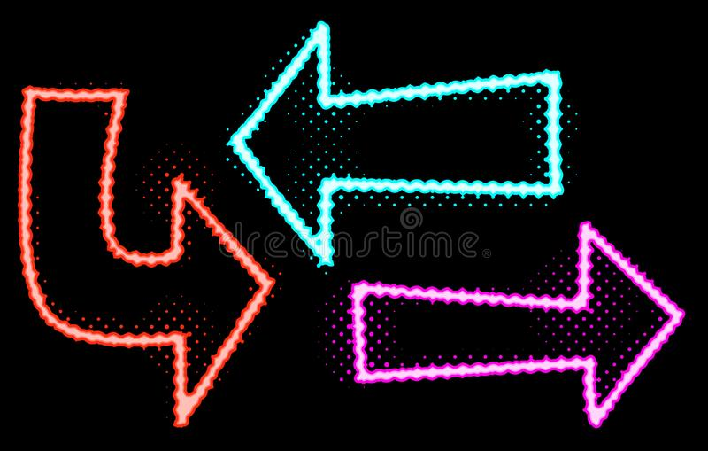 Illustrazioni al neon delle frecce di incandescenza illustrazione di stock