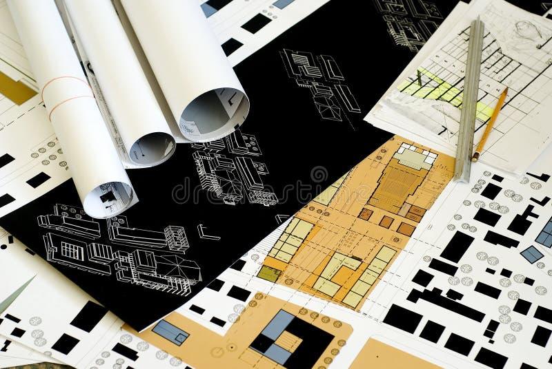 Illustrazioni architettoniche, cianografie fotografia stock libera da diritti