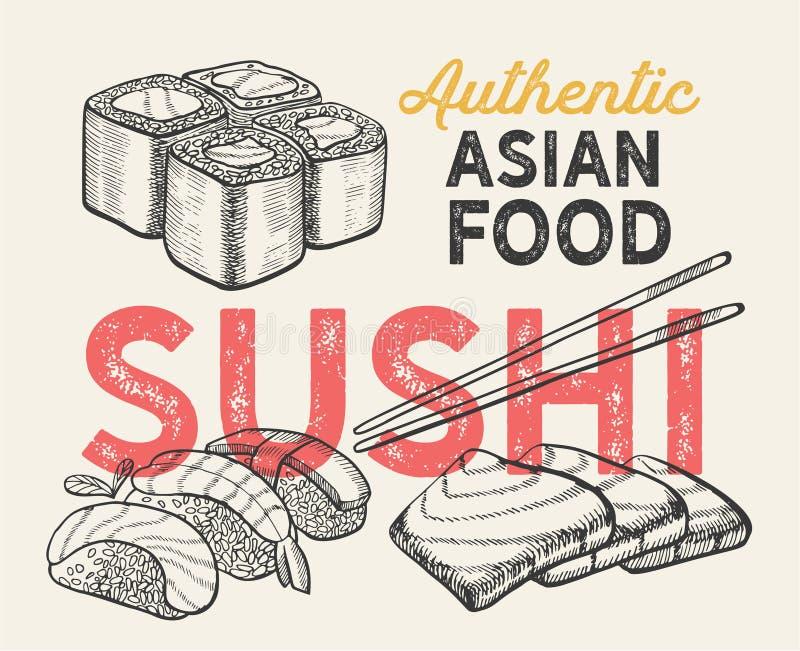 Illustrazioni asiatiche - sushi, nigiri, maki per il ristorante cinese royalty illustrazione gratis