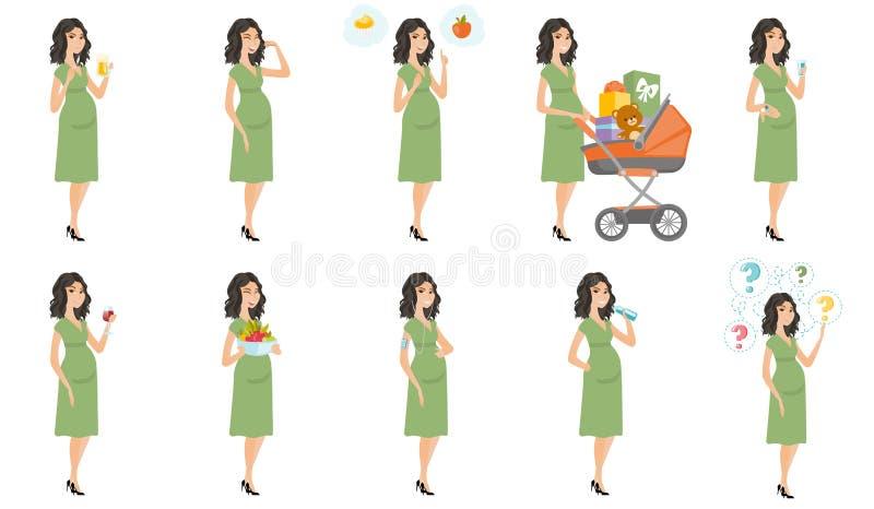 Illustrazioni caucasiche di vettore della donna incinta messe illustrazione di stock