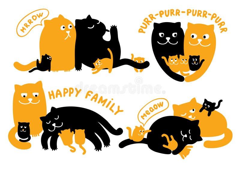 Illustrazioni con la famiglia dei gatti illustrazione di stock
