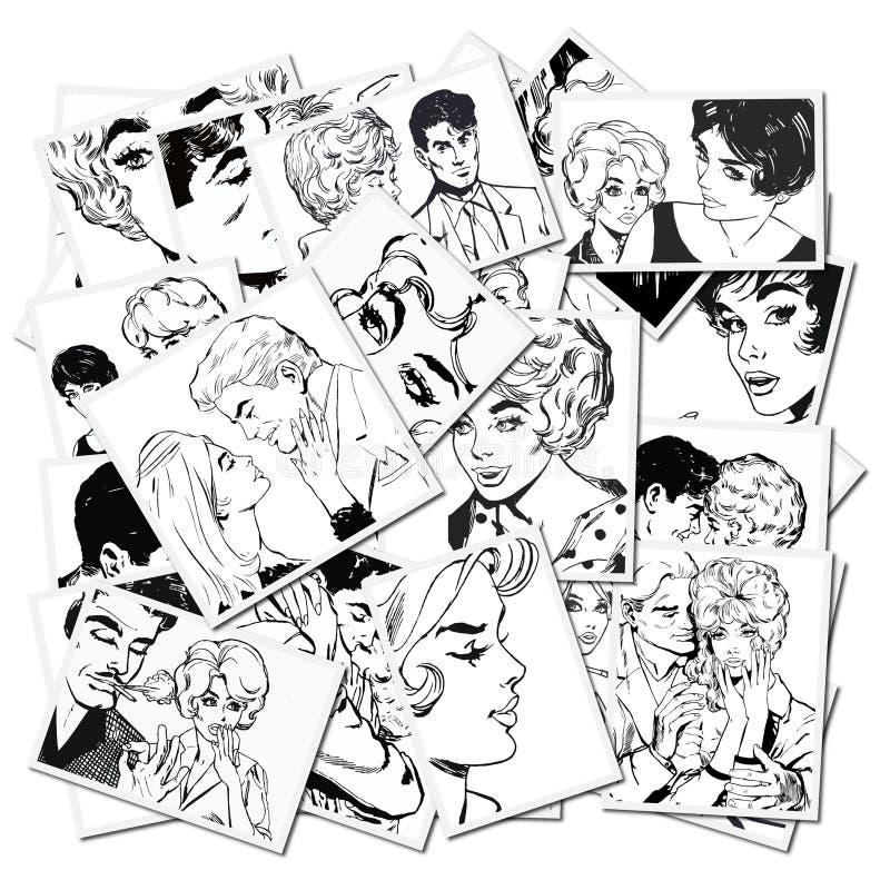 Illustrazioni con le coppie nell'amore royalty illustrazione gratis