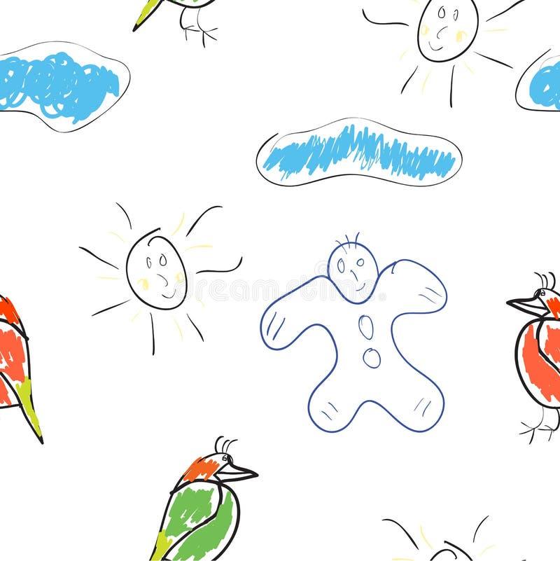 Illustrazioni dei bambini senza giunte della carta da parati illustrazione di stock