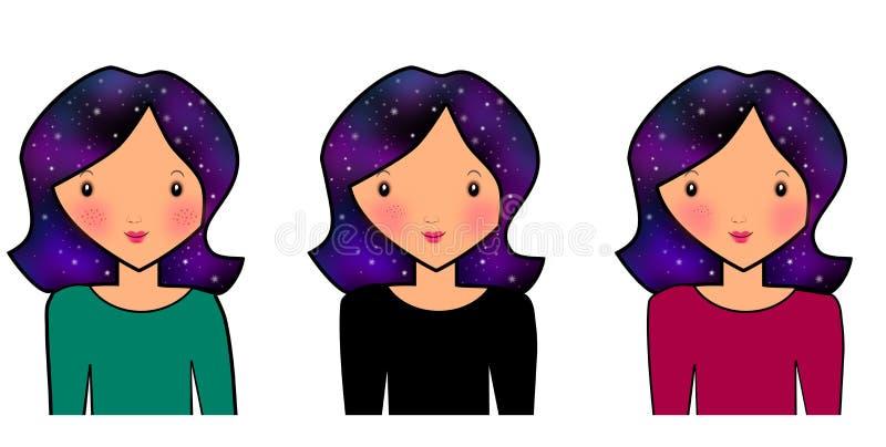 Illustrazioni del fondo dei capelli dello spazio fotografia stock libera da diritti