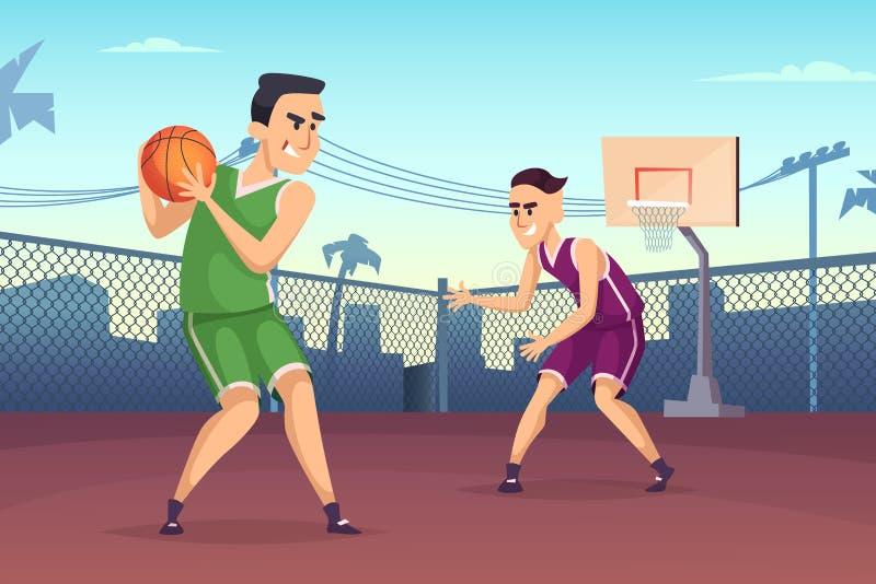 Illustrazioni del fondo dei giocatori di pallacanestro che giocano sulla corte illustrazione vettoriale