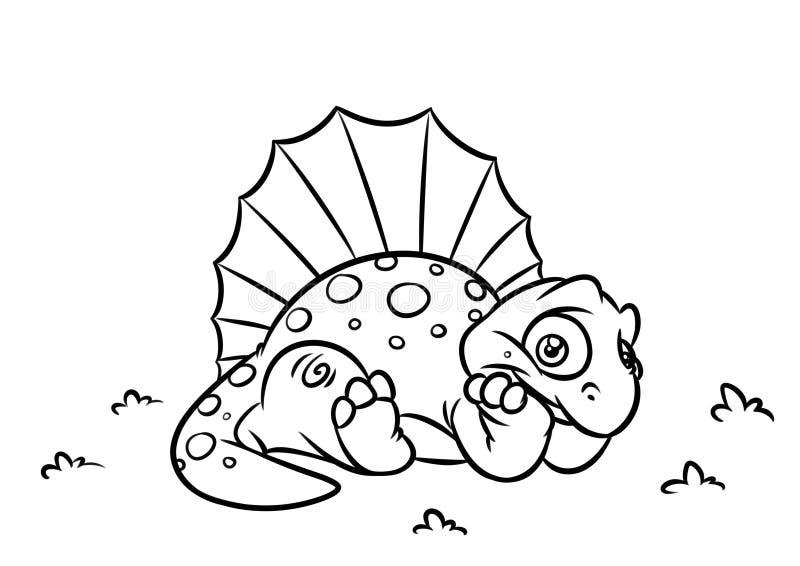 Illustrazioni del fumetto della pagina di coloritura di Dimetrodon del dinosauro illustrazione di stock