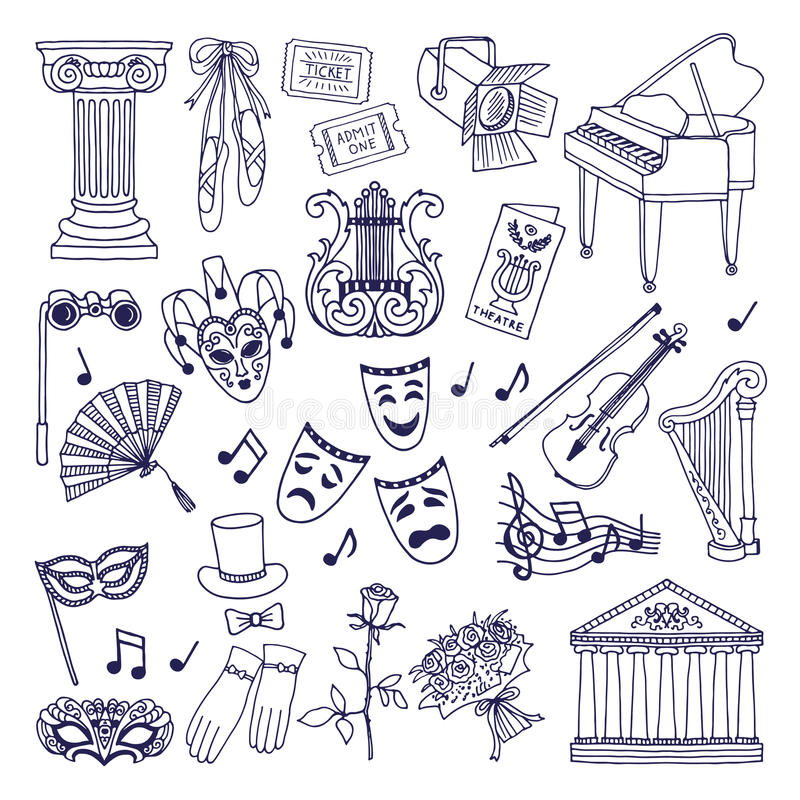 Illustrazioni del teatro messe Isolato di simboli di vettore di balletto e di opera su bianco royalty illustrazione gratis