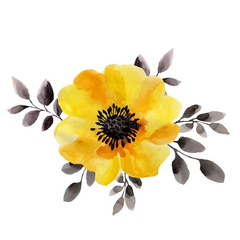 Illustrazioni dell'acquerello del fiore giallo royalty illustrazione gratis