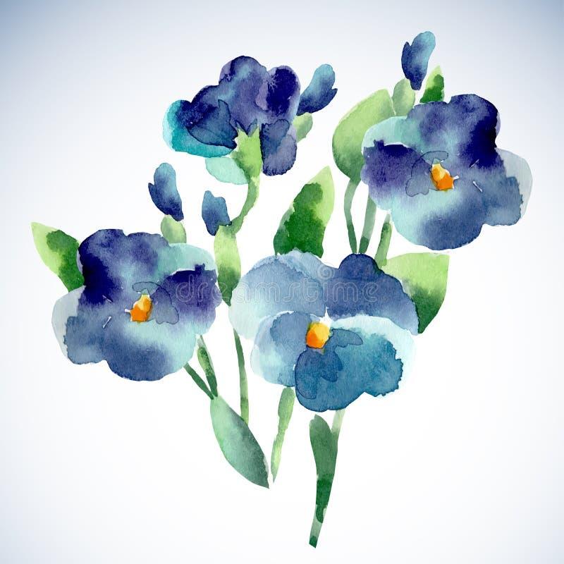 Illustrazioni dell'acquerello del fiore viola royalty illustrazione gratis