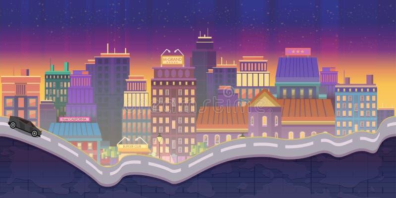 Illustrazioni della città per i giochi, fondo di notte illustrazione vettoriale
