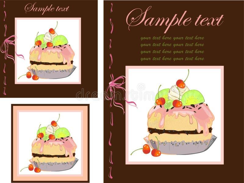 Illustrazioni della torta. Menu. illustrazione vettoriale
