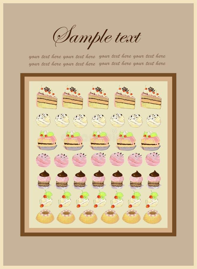 Illustrazioni della torta. Menu. royalty illustrazione gratis