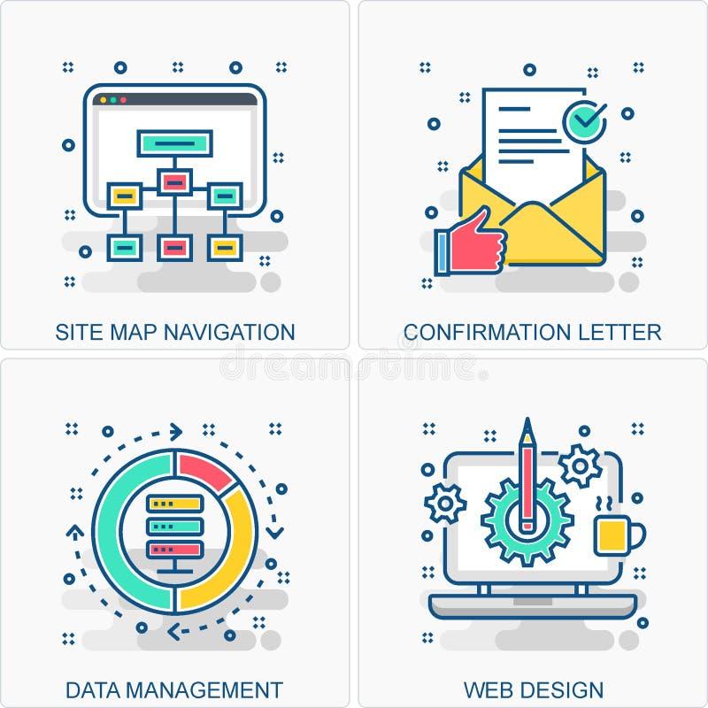 Illustrazioni delle icone e di concetti di dati di gestione royalty illustrazione gratis