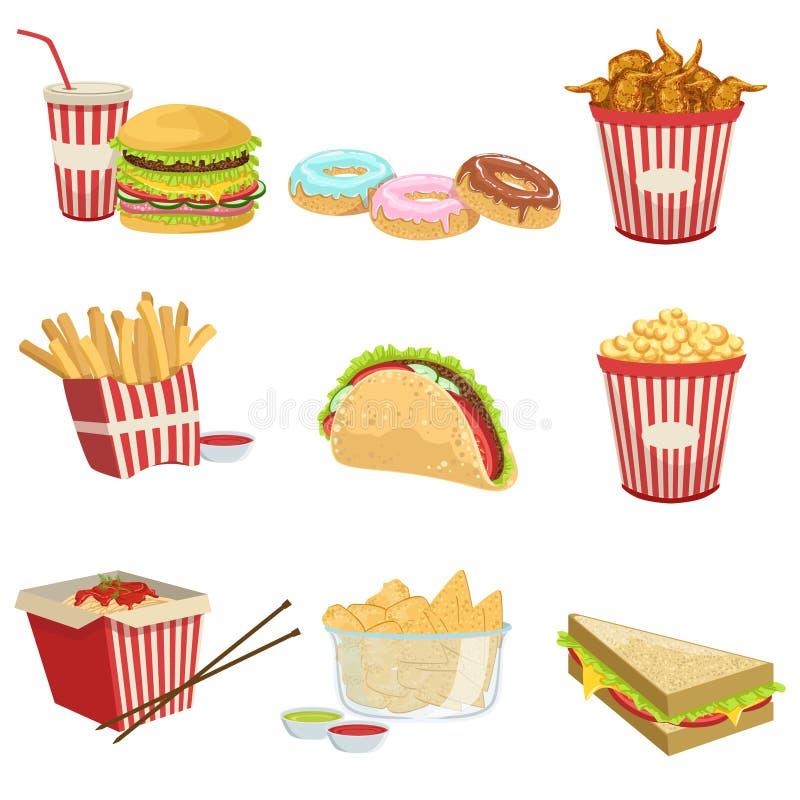 Illustrazioni dettagliate realistiche delle voci di menu dell'alimento della via illustrazione vettoriale