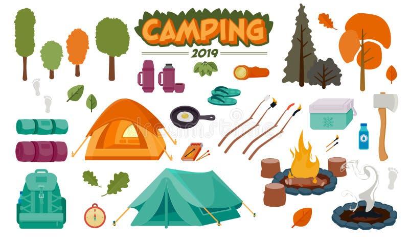 Illustrazioni di campeggio di vettore dell'insieme dell'icona royalty illustrazione gratis