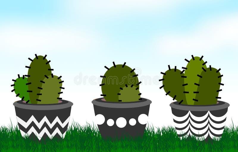 Illustrazioni di disposizioni del cactus illustrazione vettoriale