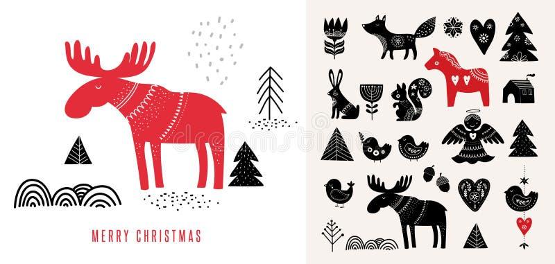 Illustrazioni di Natale, nello stile scandinavo royalty illustrazione gratis
