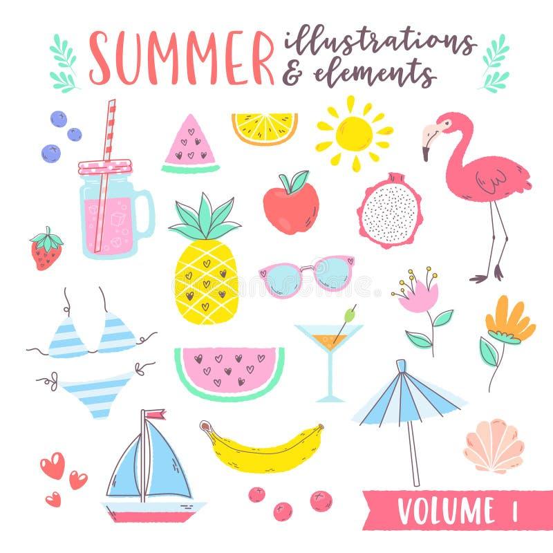Illustrazioni di progettazione di estate con il elem tropicale e della spiaggia di frutti, illustrazione di stock